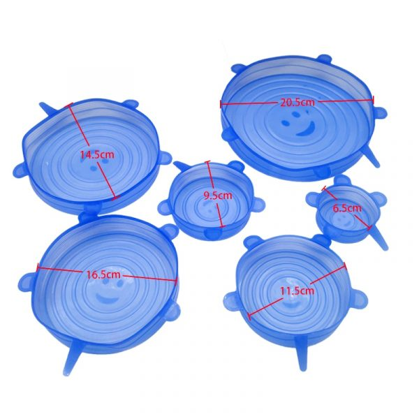 6/12pcs Silicone Stretch Lids Universal Lid Silicone Bowl Pot Lid Silicone Cover Pan Cooking Food Fresh Cover Microwave Cover 4