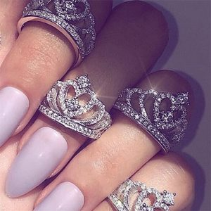 Fashion Silver Rings Crystal Heart Rings Women's Crown Zircon Ring Jewelry Women's Engagement Party Wholesale 1