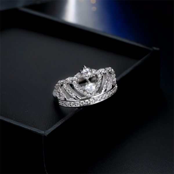 Fashion Silver Rings Crystal Heart Rings Women's Crown Zircon Ring Jewelry Women's Engagement Party Wholesale 2