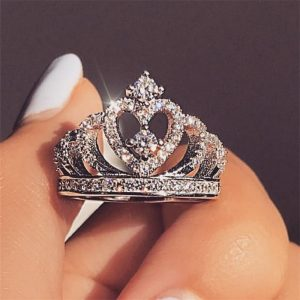 Fashion Silver Rings Crystal Heart Rings Women's Crown Zircon Ring Jewelry Women's Engagement Party Wholesale
